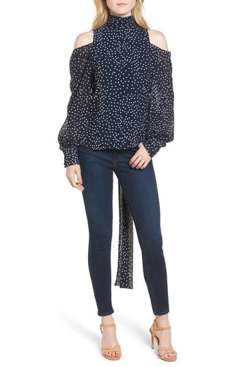 Stylekeepers After Hours Open Back Blouse In Navy Polka Dots