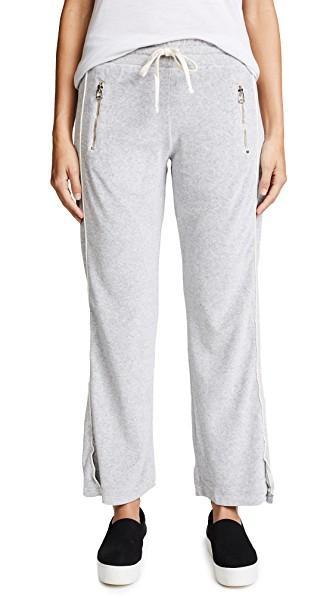Sundry Velour Zip Pocket Track Pants In Heather Grey