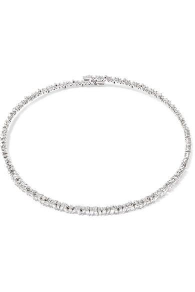 Suzanne Kalan 18-karat White Gold Diamond Choker In Usd
