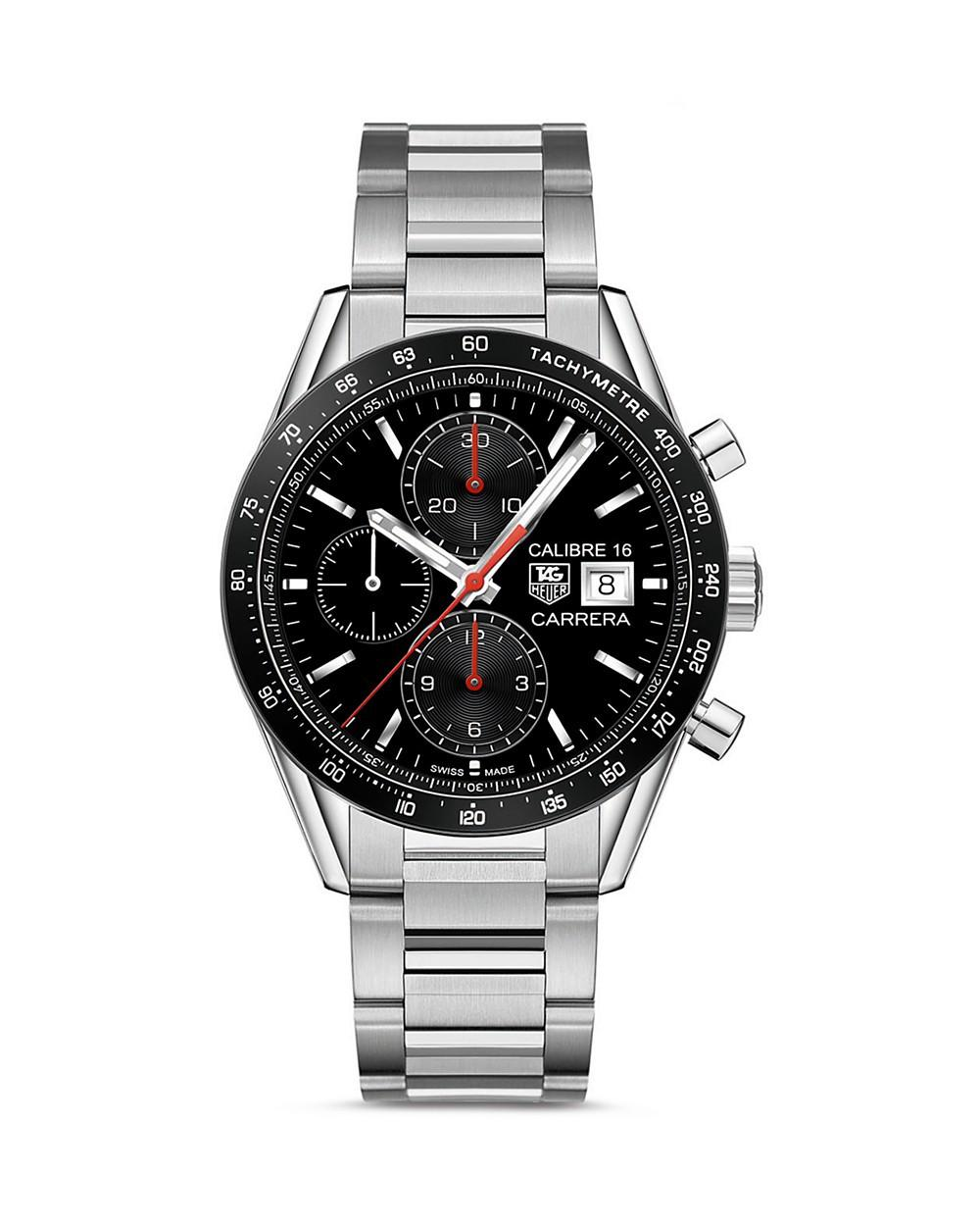 Tag Heuer Carrera Automatic Tachymeter Watch, 41mm In Black/silver