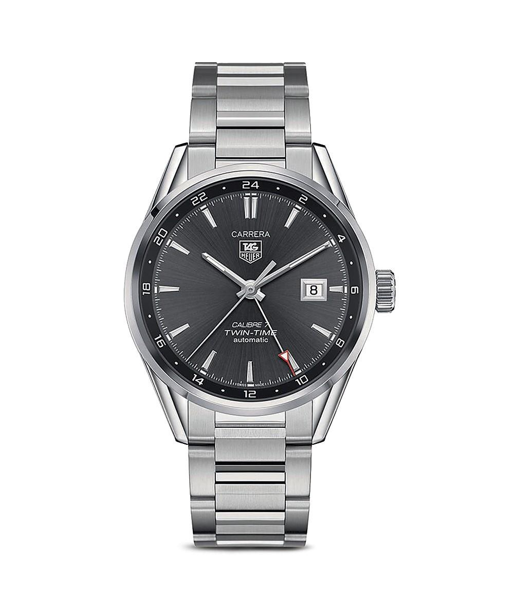Tag Heuer Carrera Calibre 7 Twin-time Stainless Steel And Anthracite Dial Watch, 41mm In Silver/black