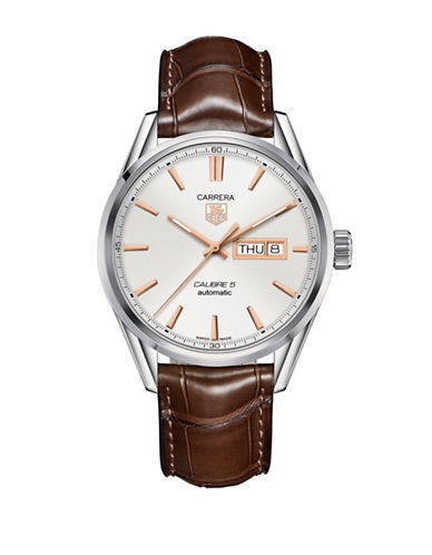 Tag Heuer Analog Carrera War201d.fc6291 Rose-goldtone Leather Strap Watch-brown