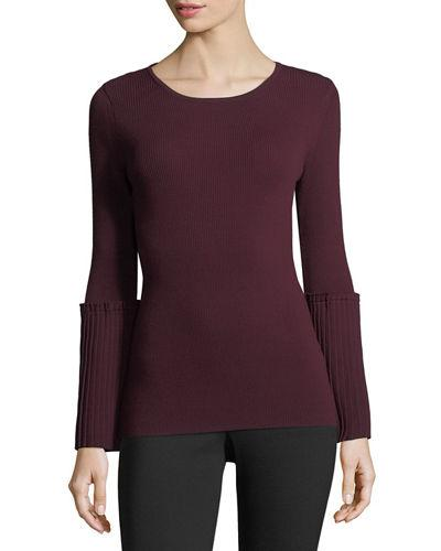 Tahari Asl Ribbed-knit Sweater W/pleated Bell Sleeves In Port