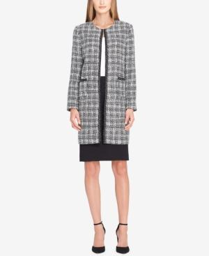 Tahari Asl Boucle Chain-trim Skirt Suit In White/blue