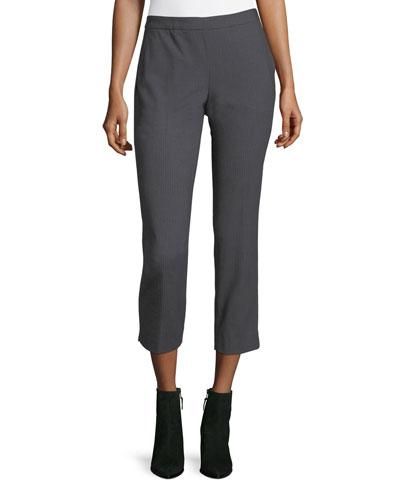Tahari Asl Pinstriped Straight-leg Pants In Gray
