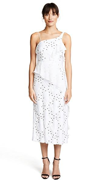 Talulah Associates Midi Dress In White Floral With Black Spots