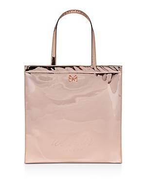 Ted Baker Jencon Mirrored Large Icon Tote - Pink In Rose Gold