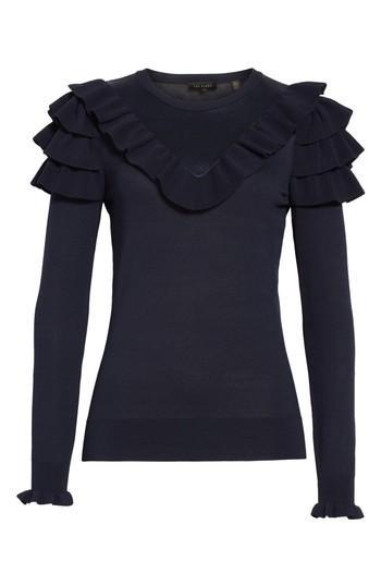 Ted Baker Hellgar Satin Contrast Ruffle Sweater In Dark Blue