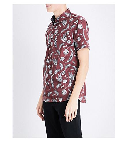 Ted Baker Floral Regular-fit Cotton Shirt In Dark Red