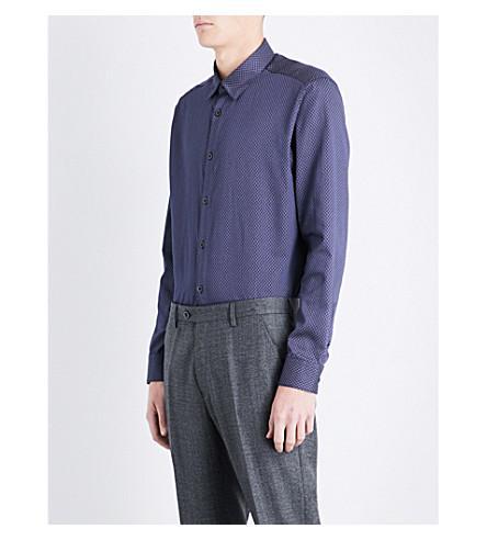 Ted Baker Senne Geometric-pattern Regular-fit Cotton Shirt In Navy