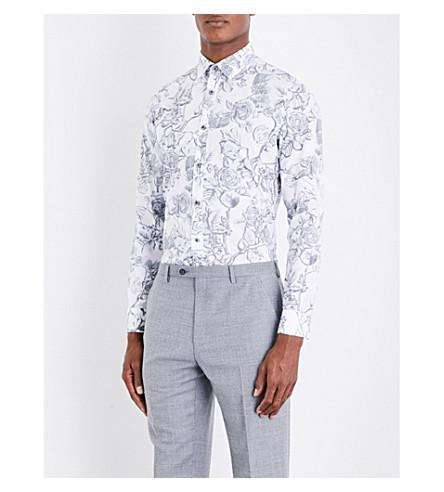 Ted Baker Nayboz Floral-print Cotton Shirt In White