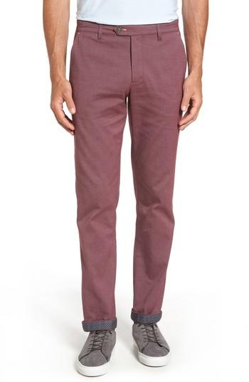 Ted Baker Volvek Classic Fit Trousers In Dark Red