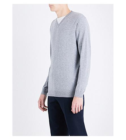 Ted Baker V-neck Wool-blend Jumper In Grey Marl