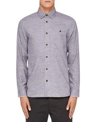 Ted Baker Arc Dobbie Flannel Regular Fit Button-down Shirt In Gray