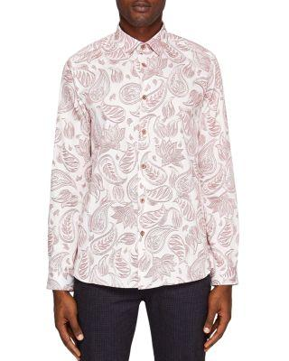 Ted Baker Shoka Paisley Regular Fit Button-down Shirt In Pink