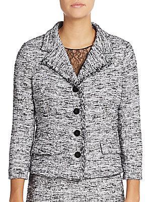 Teri Jon By Rickie Freeman Tweed Jacket In Black - White