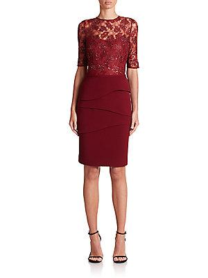 Teri Jon By Rickie Freeman Tiered Lace Sheath Dress In Wine