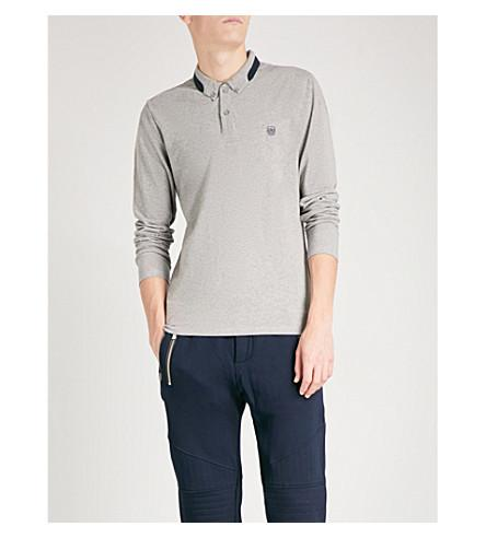 The Kooples Contrast-trim Cotton-piquÉ Polo Shirt In Gry38