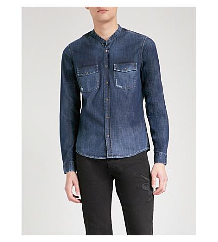 The Kooples Distressed-detail Slim-fit Denim Shirt In Blue6