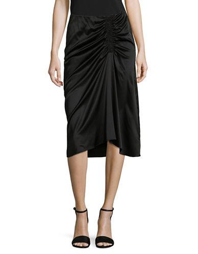 Theory Ruched Midi Skirt-black