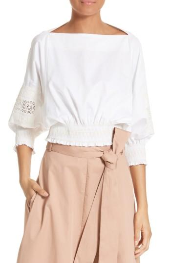 Tibi Poplin Crop Top In White