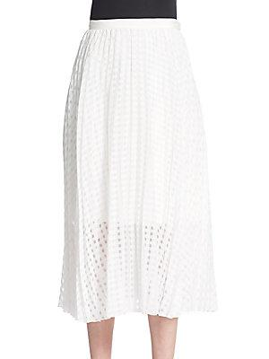 Tibi Sheer Checked Pleated Skirt In Ivory
