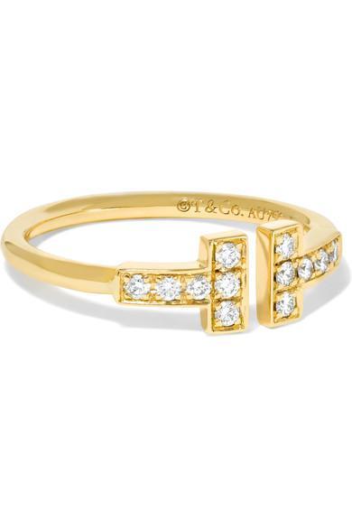 Tiffany & Co T Wire 18-karat Gold Diamond Ring