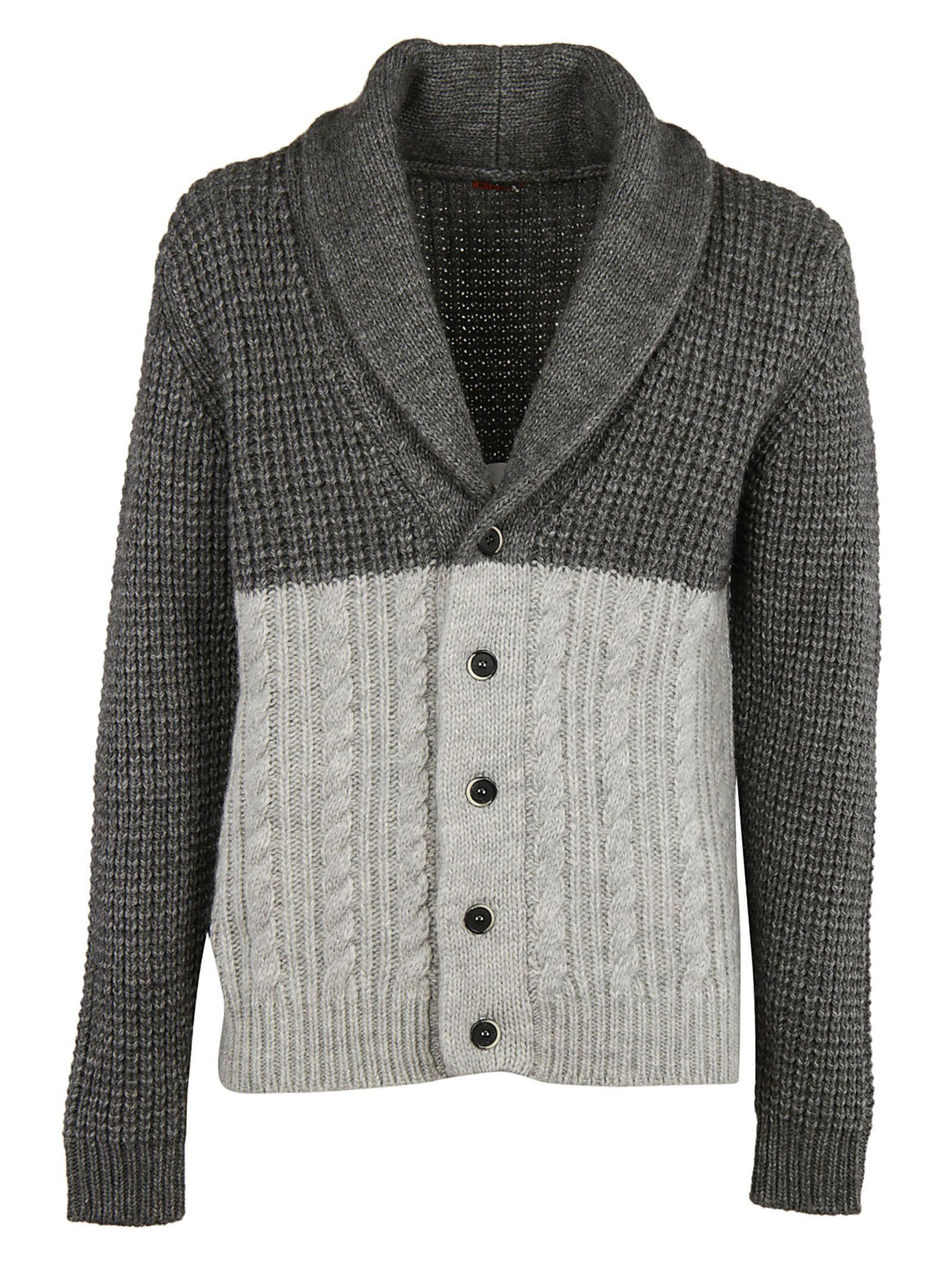 Barena Venezia Shawl Lapel Tonal Cardigan In Grey