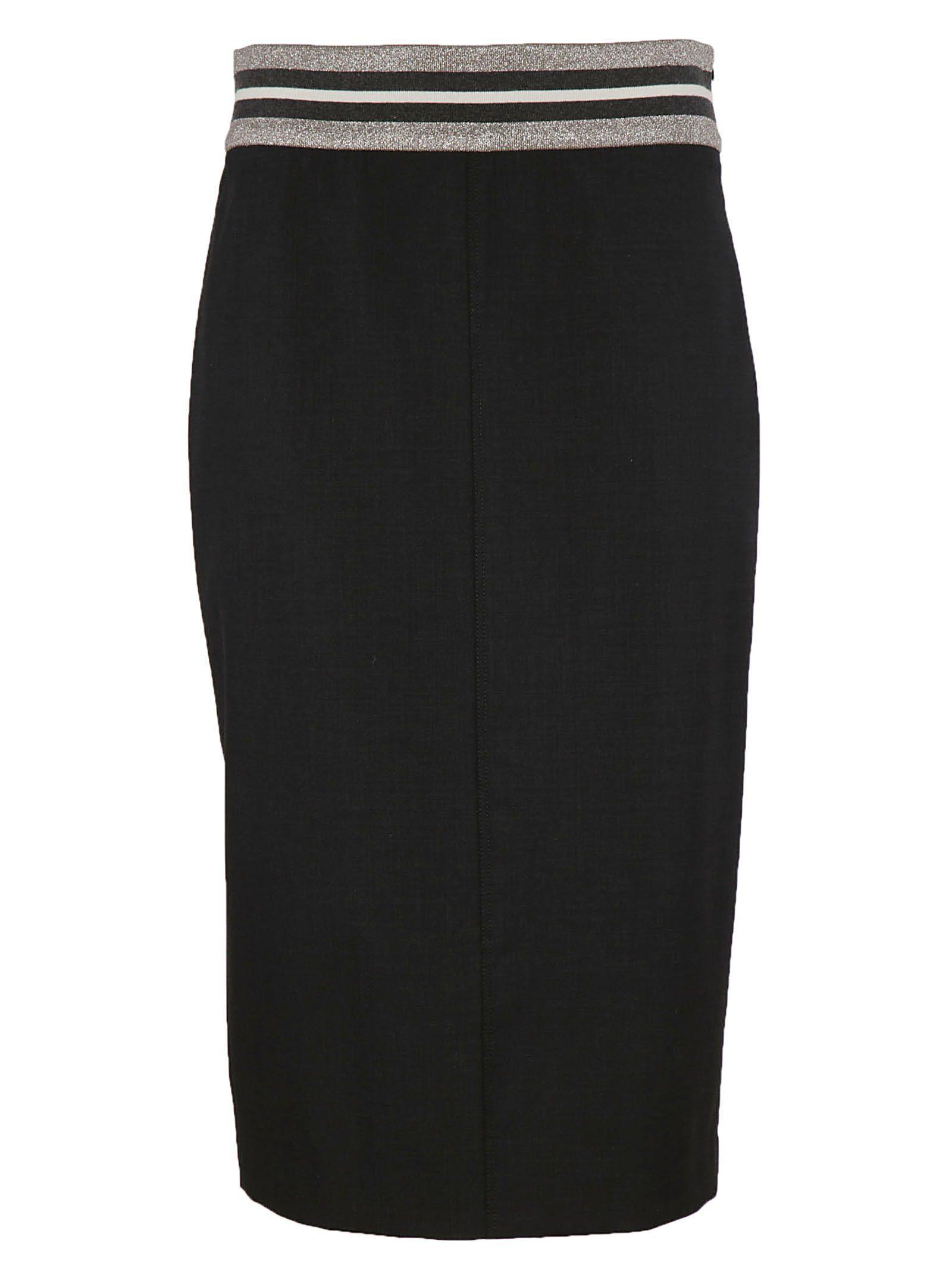 Brunello Cucinelli Striped Pencil Skirt In Black