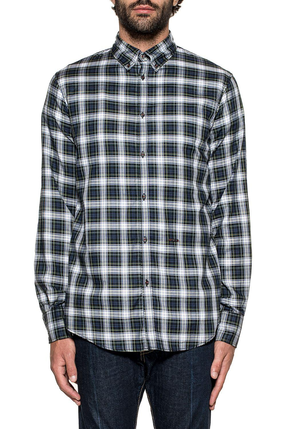 Dsquared2 Blue-white Checked Shirt In Blue - White