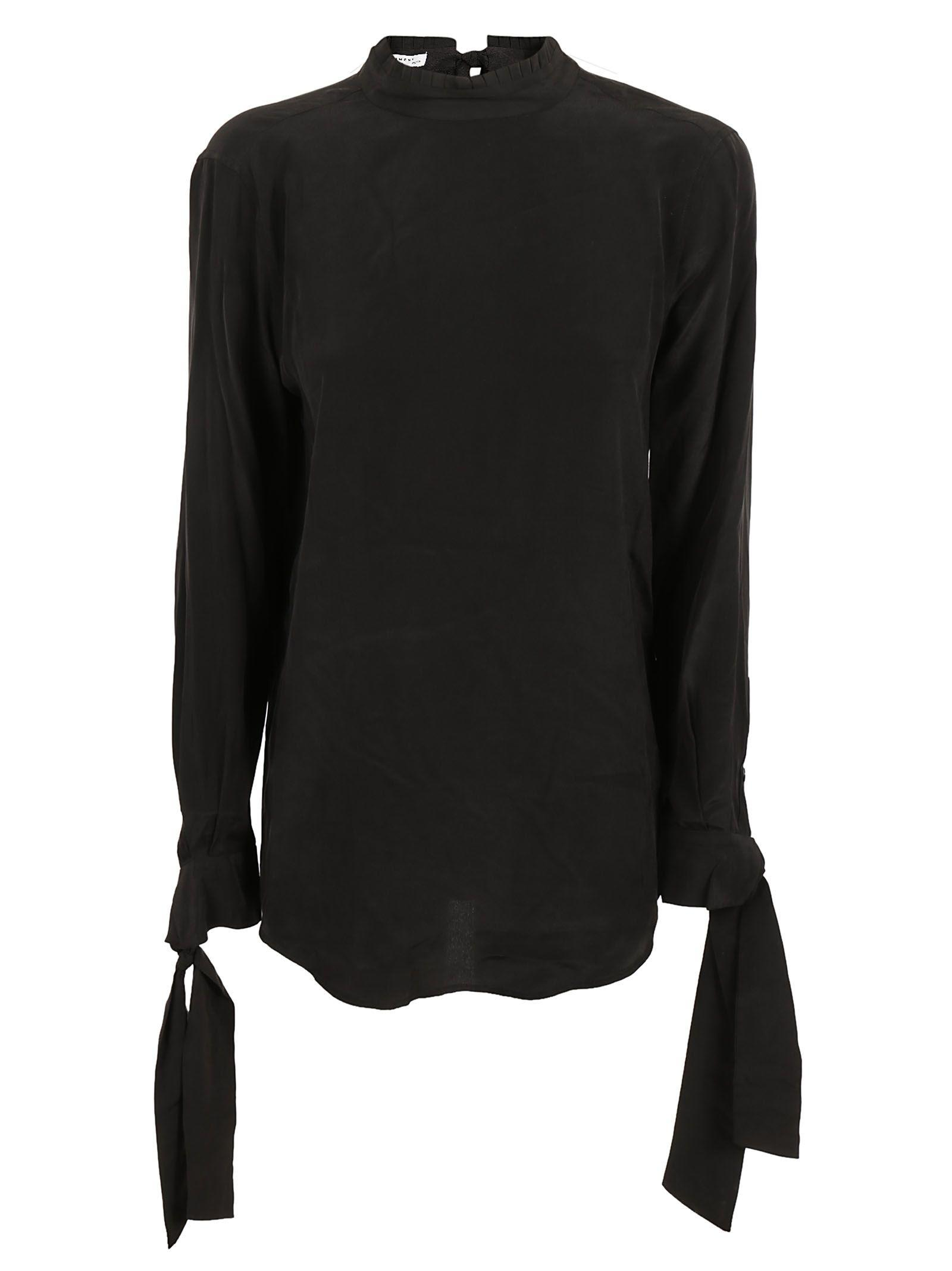 Equipment Tied Neck And Sleeve Blouse In Black