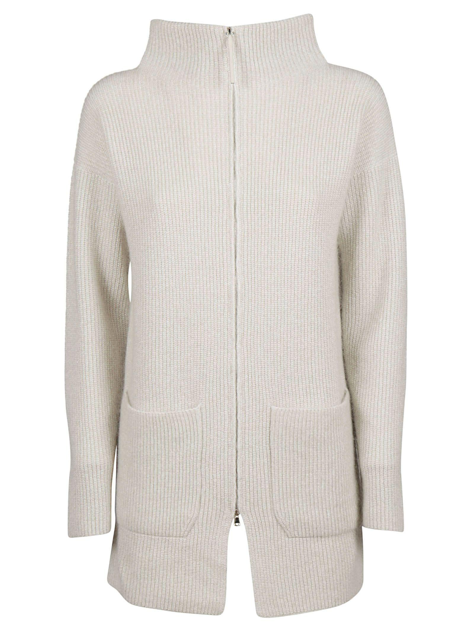 Fabiana Filippi Zip-up Cardigan In Off White