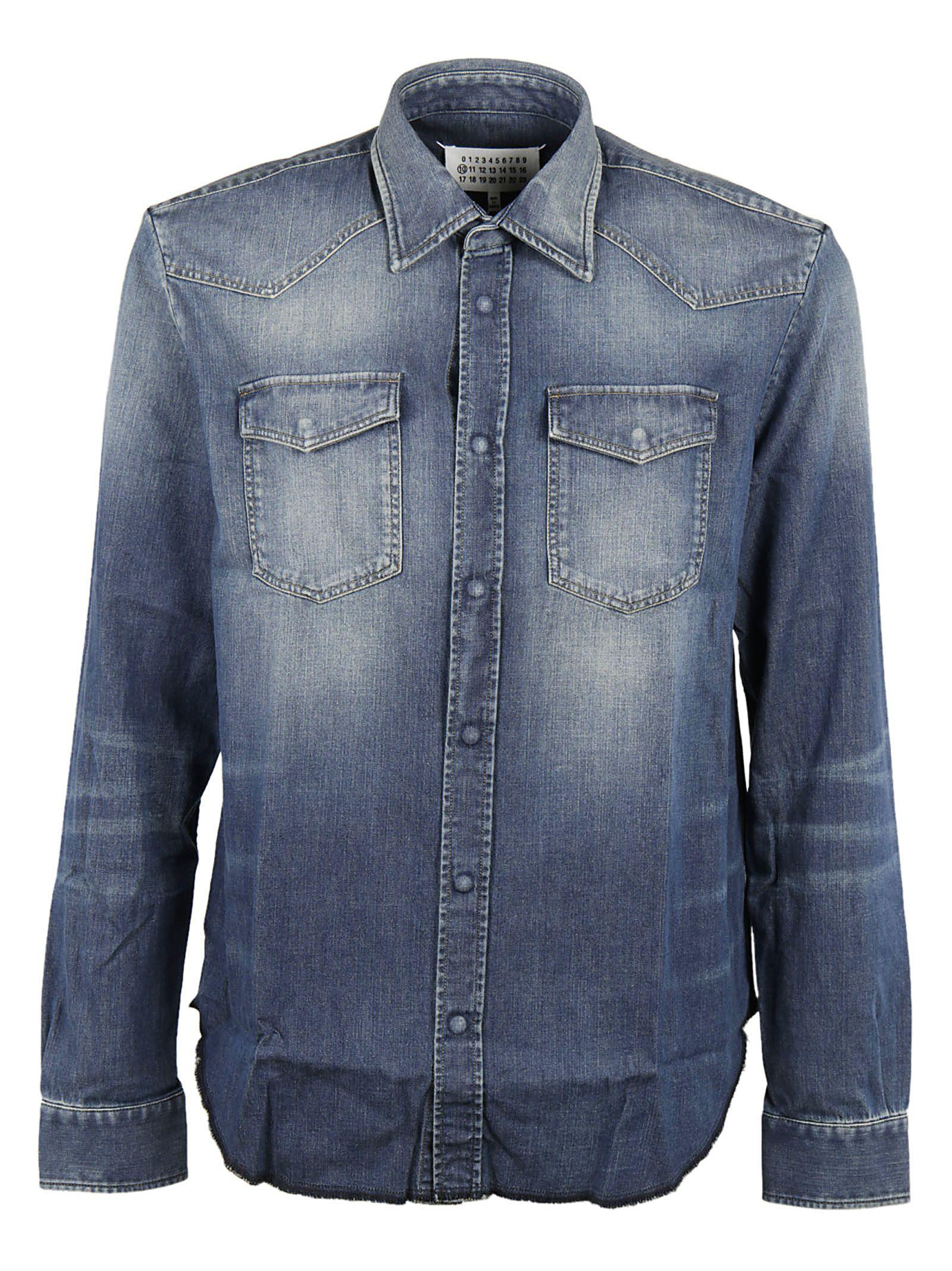 Maison Margiela Straight Fit Denim Shirt In Blue