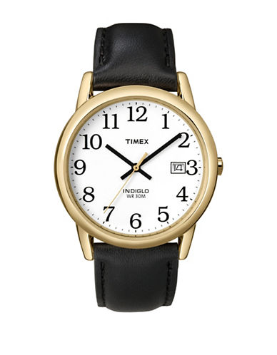 Timex Easy Reader Black Leather Strap And Goldtone Watch-black