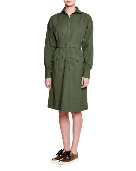 Tomas Maier Long-sleeve Belted Shirtdress, Army