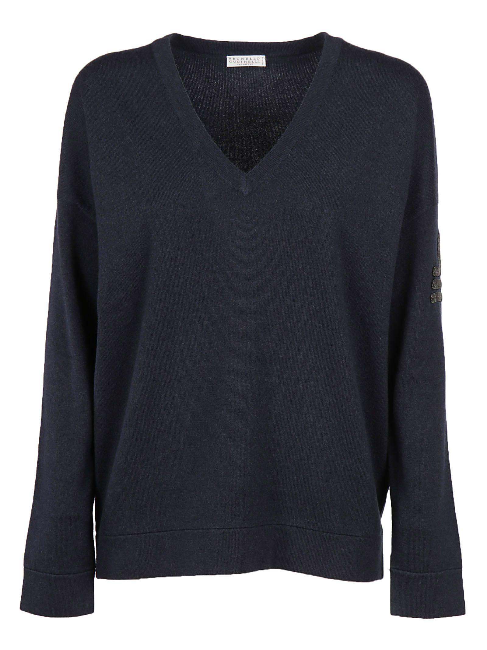 Brunello Cucinelli V-neck Sweater In Navy