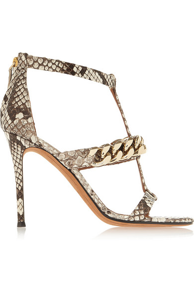 Givenchy Python Sandals With Gold Chain In Gray
