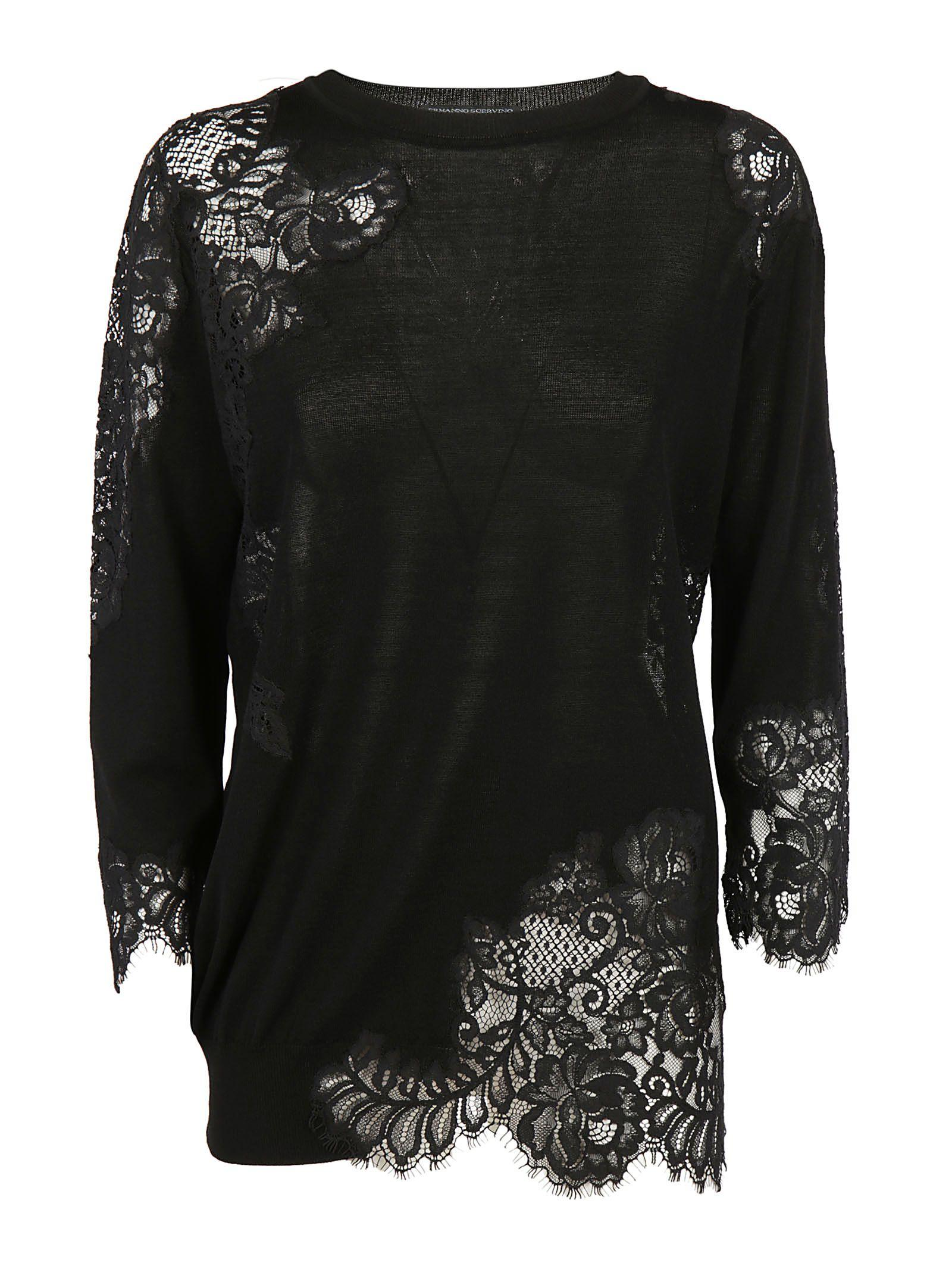 Ermanno Scervino Lace Effect Sweater In Black