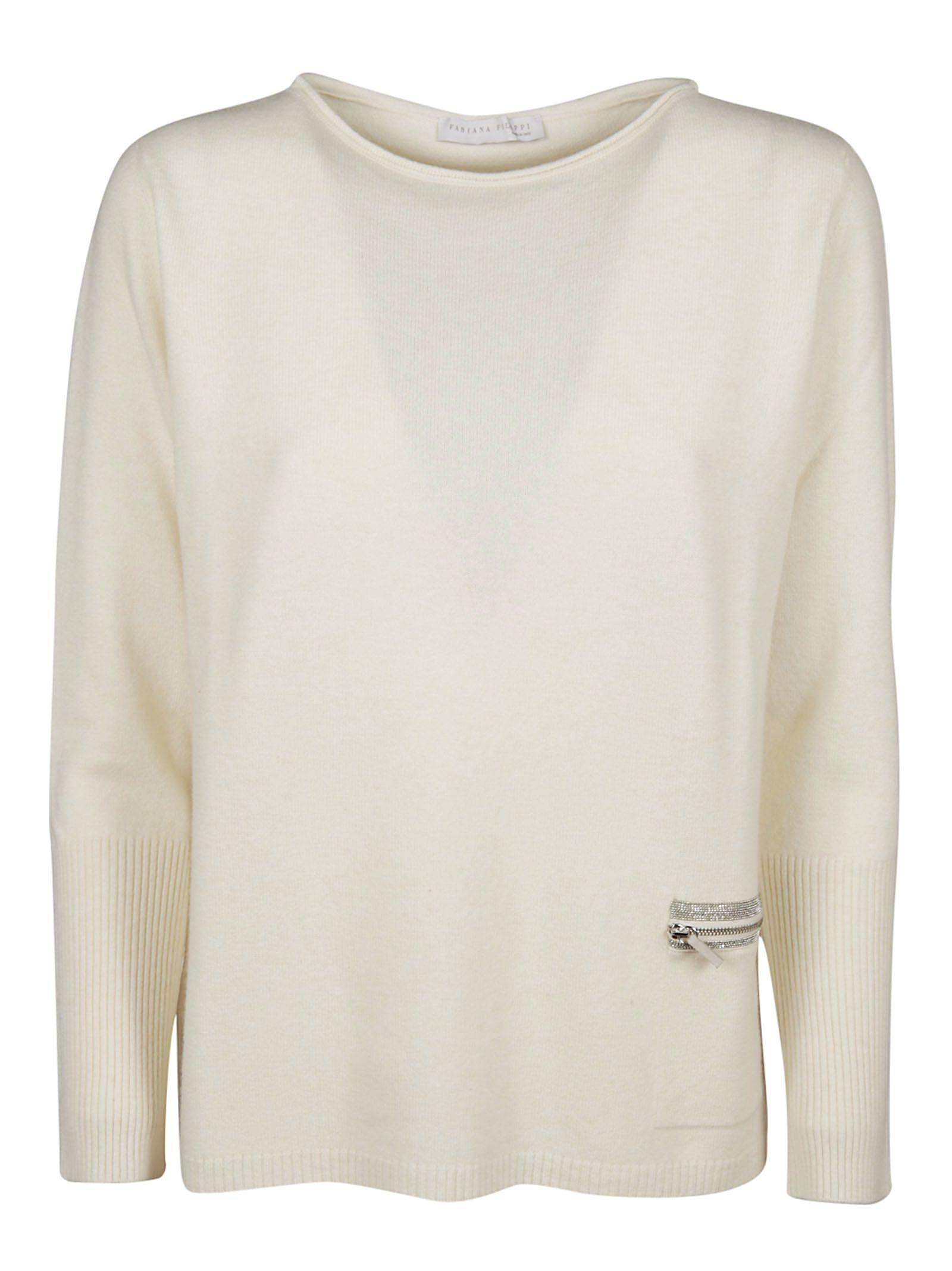 Fabiana Filippi Zipped Pocket Sweater In White