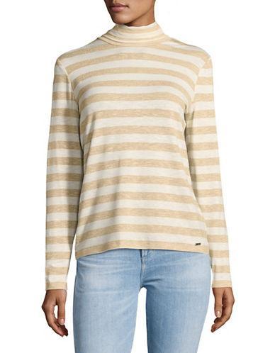 Tommy Hilfiger Lurex Striped Turtleneck Sweater-natural