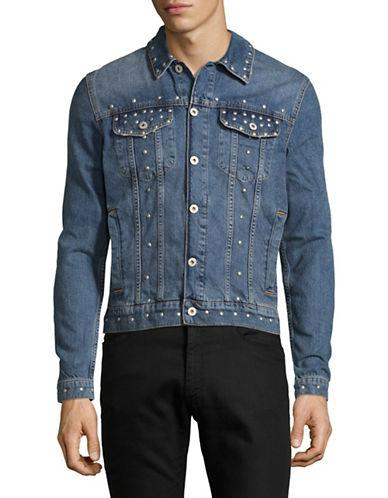 Topman Studded Denim Jacket-light Blue
