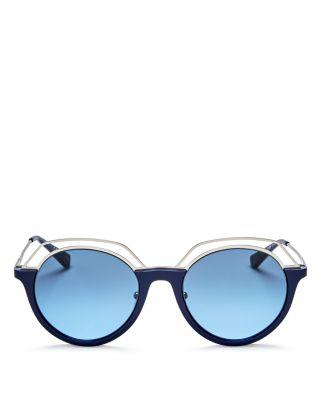 Tory Burch Round Sunglasses, 51mm In Navy/silver/gray Blue Gradient