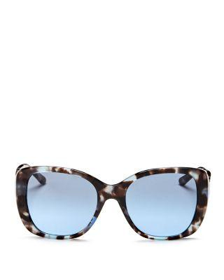 Tory Burch Gradient Rectangle Sunglasses In Blue