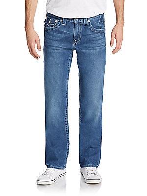 True Religion Basic Straight Leg Jeans In Blue