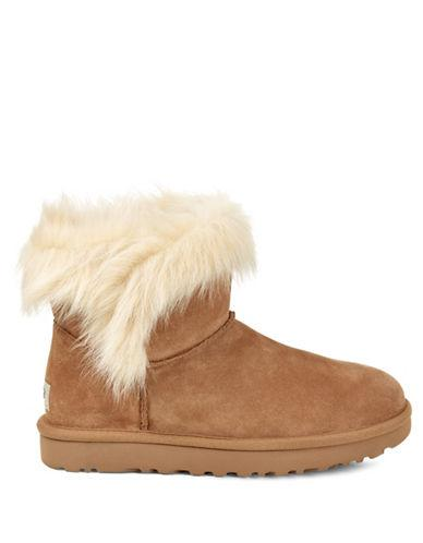 Ugg Shearling Classic Milla Suede Booties-chestnut