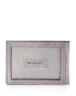 Uri Minkoff Kelso Leather Card Case In Anthracite