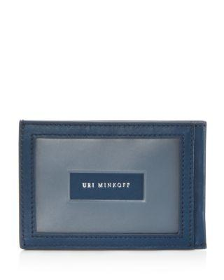 Uri Minkoff Kelso Leather Card Case In Ocean