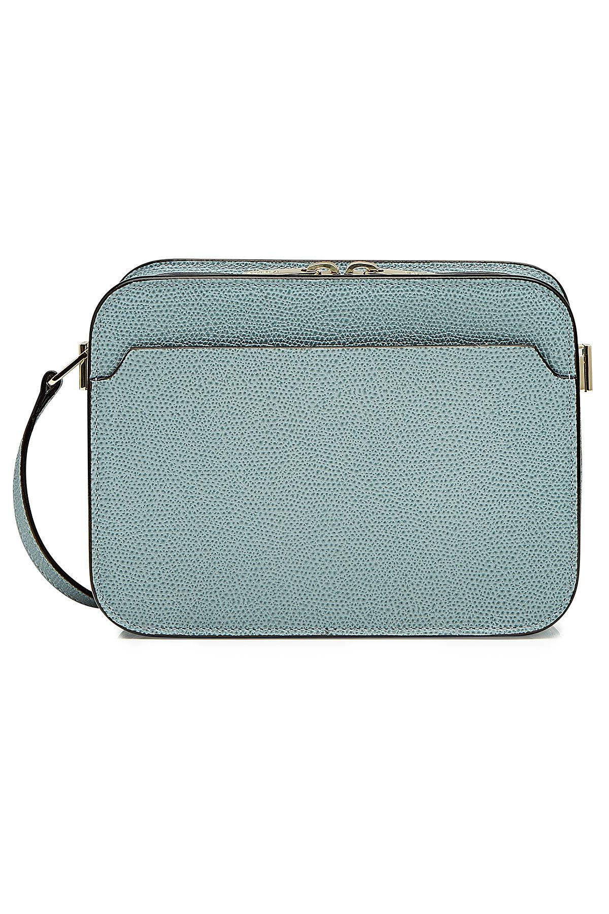 Valextra Leather Shoulder Bag In Blue