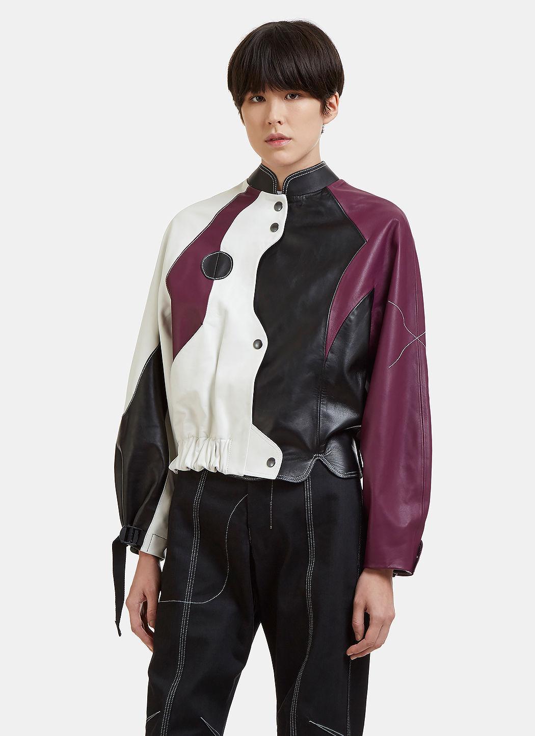 Vejas Moto Leather Jacket In Purple