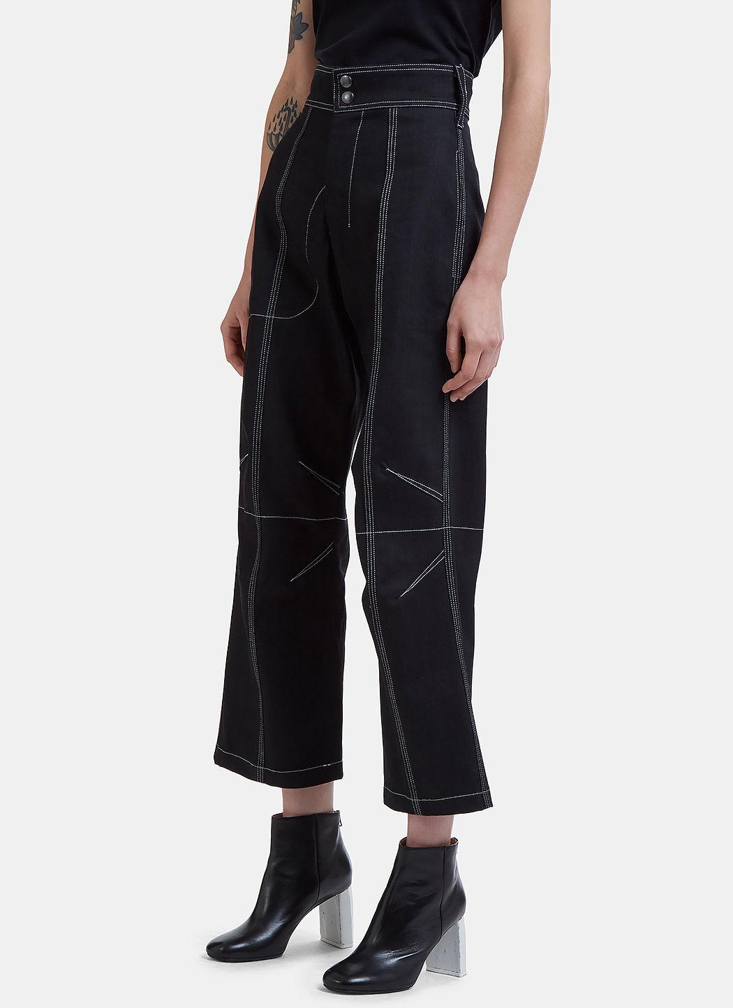 Vejas Darted Contrast Stitch Denim Pants In Black